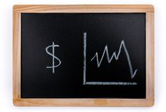 American dollars value diagram on a blackboard on white background. American dollars value diagram on a blackboard on a white background royalty free stock photography