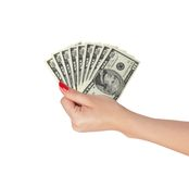 American dollars in a women hand isolated on white Stock Photo