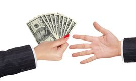American dollars in a women hand and man hand Royalty Free Stock Photos
