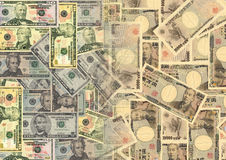 American dollars and Yen Royalty Free Stock Images