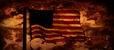 American Dream. An American flag flies on a distressed background Stock Images