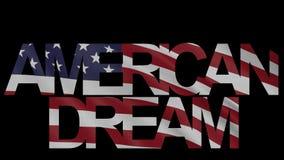 'American dream' caption and waving American flag 4K intro animation. 'American dream' caption and waving American flag 4K intro clip stock video