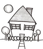 American Dream House. Hand drawn illustration of a dream home Stock Image