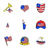 American dream icons set, cartoon style Royalty Free Stock Photos