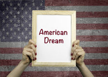 American Dream. Placard in the hands of woman Stock Photography