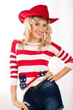 American-dressed girl in red hat Stock Photo