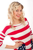 American-dressed girl winks Royalty Free Stock Images