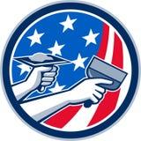 American Drywall Repair Service Flag Circle Retro Stock Photos