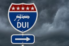 American DUI Highway Road Sign. Red, White and Blue American Highway Sign with words DUI with stormy sky background stock photo