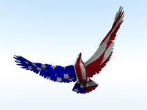 American Eagle. Concept image of an American eagle with the American flag would be good for July 4th Royalty Free Stock Photos