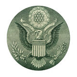 American eagle. Detail of one dollar bill isolated over white stock photo
