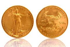 American Eagle $50 Gold Coin 1 oz Fine Gold. The American Gold Eagle Coin is an official gold bullion coin of the United States it is minted in 22 karat gold Royalty Free Stock Photo