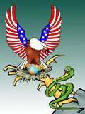 American eagle. Conceptual illustration depicting a US eagle protecting the world vector illustration
