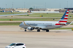 American Eagle Airlines Jet waiting for take-off. American Eagle Airlines Jet waiting at Dallas-Fort Worth International Airport waiting for take-off Stock Photos
