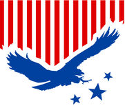 American eagle background. Illustration with stars and stripes and handmade eagle with united states of america flag colors Royalty Free Stock Photo