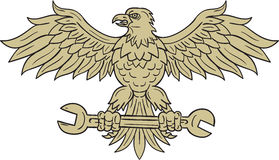 American Eagle Clutching Spanner Drawing. Drawing sketch style illustration of an american bald eagle looking to the side clutching spanner with its talon set on Stock Images