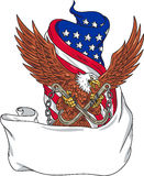 American Eagle Clutching Towing J Hook Flag Unfurled Drawing. Drawing sketch style illustration of an american bald eagle looking to the side clutching with its Stock Photos