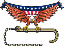 American Eagle Clutching Towing J Hook USA Flag Retro Stock Photo