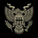 American Eagle Emblem. Fully editable vector illustration (editable EPS) of american eagle emblem on black background, image suitable for crest, emblem, insignia Stock Image