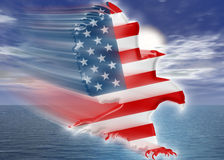 American Eagle flag weaving. American Eagle (motion trail and glow) / Eagle with the American flag drawn across his body (bevel) / Aurora sea sky in background Stock Photos