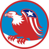 American Eagle Flag On Wing Perching Circle Retro Royalty Free Stock Photo