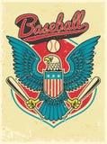 American eagle grip a baseball bat. Vector of american eagle grip a baseball bat in grunge texture style Stock Photography