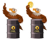 American eagle holding oil barrel and dollar symbol. Cartoon styled vector illustration. Elements is grouped.  on white Royalty Free Stock Photo