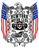 American Eagle Linework Vector Motorcycle T-shirt Graphic. Fashion style Royalty Free Stock Photos
