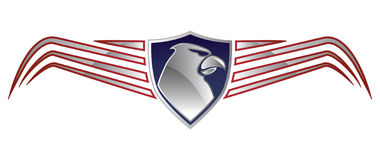 American Eagle Logo. Steel logo of eagle head with wings Vector Illustration