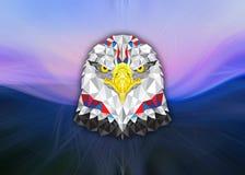 American Eagle met geometrisch patroon op abstracte achtergrond royalty-vrije illustratie