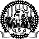 American Eagle Natioal Symbol USA Fourth July Emblem Monochrome. The American Eagle with stars and stripes as a symbol of the Independence Day of the US on 4th Stock Photos