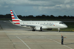 American Eagle plane on tarmac at La Romana International Airport Stock Photo