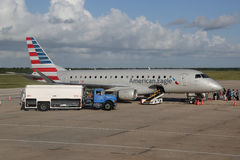 American Eagle plane on tarmac at La Romana International Airport Stock Photography