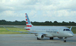 American Eagle plane on tarmac at La Romana International Airport Royalty Free Stock Images