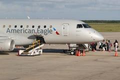 American Eagle plane on tarmac at La Romana International Airport. LA ROMANA, DOMINICAN REPUBLIC - JANUARY 4, 2017: American Eagle plane on tarmac at La Romana Stock Images