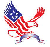 American eagle with ribbon. In patriotic colors Royalty Free Stock Photo