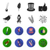 American eagle, ribbon, salute. The patriot day set collection icons in black,flet style vector symbol stock. Illustration Royalty Free Stock Photo