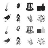 American eagle, ribbon, salute. The patriot day set collection icons in black,monochrome style vector symbol stock. Illustration Stock Photo