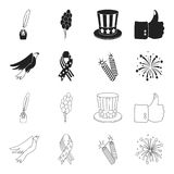 American eagle, ribbon, salute. The patriot day set collection icons in black,outline style vector symbol stock. Illustration Stock Images