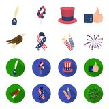 American eagle, ribbon, salute. The patriot day set collection icons in cartoon,flat style vector symbol stock. Illustration Royalty Free Stock Photo