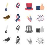 American eagle, ribbon, salute. The patriot day set collection icons in cartoon,monochrome style vector symbol stock. Illustration Stock Photography