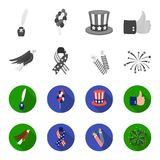 American eagle, ribbon, salute. The patriot day set collection icons in monochrome,flat style vector symbol stock. Illustration Royalty Free Stock Image