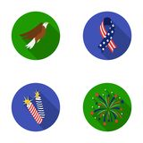 American eagle, ribbon, salute. The patriot s day set collection icons in flat style vector symbol stock illustration Stock Image