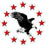 American Eagle and stars. Logo with eagle Stock Image