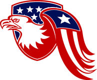 American Eagle Stars and Stripes Flag Shield Retro Stock Image