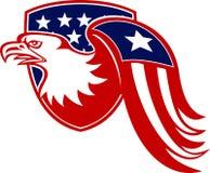 American Eagle Stars and Stripes Flag Shield Retro Stock Image