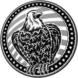 American Eagle USA Natioal Symbol Fourth July Emblem Monochrome. The American Eagle with stars and stripes as a symbol of the Independence Day of the US on 4th Stock Photo
