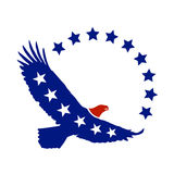 American eagle vector symbol. Vector illustration of flying eagle or sea hawk with the colors of united states of america flag and stars, to be used as symbol or