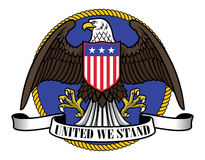 American eagle wearing flag shield and ribbon sign below Stock Photo