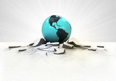American earth globe stuck into ground with flare concept Royalty Free Stock Photos